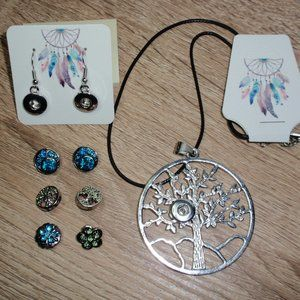 12mm Snap Necklace Earrings Tree Of Life 6 Snaps